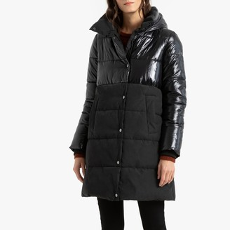 Anne Weyburn Long Dual Fabric Padded Jacket with Hood and Pockets