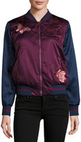 Max Studio Embroidered Satin Butterfly Bomber Jacket, Red/Blue