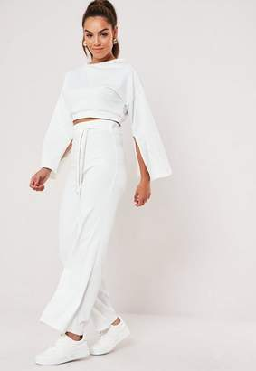 Missguided White Rib Cropped Sweatshirt Wide Leg Co Ord Set