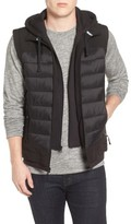Black Rivet Men's Quilted Vest With Detachable Hooded Bib