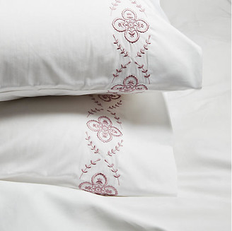 Hamburg House Set of 2 Floral Pillowcases - Satin Wine King