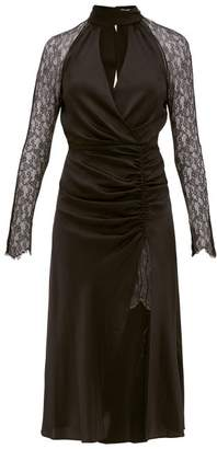 Jonathan Simkhai Lace-sleeve Ruched-front Silk-blend Dress - Womens - Black