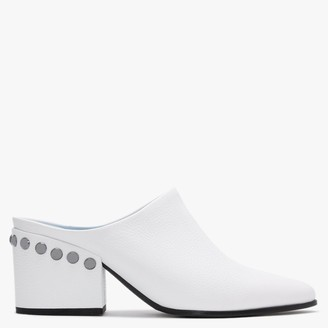 Kennel + Schmenger Shire White Leather Backless Closed Toe Mules