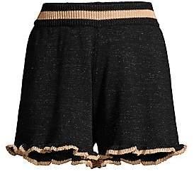 SUBOO Women's Mini Knit Ruffle Shorts