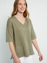 White Stuff Island linen v neck knit top
