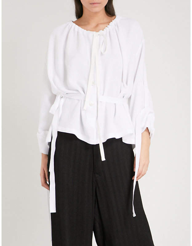Ann Demeulemeester Belted ruched woven top