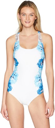 Calvin Klein Women's Printed Cross Back one Piece Swimsuit Tummy Control
