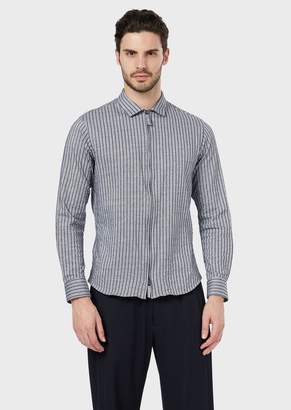 Giorgio Armani Slim-Fit, Striped Jersey Shirt With Zip