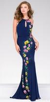Jovani Keyhole Halter Low Back Floral Prom Dress