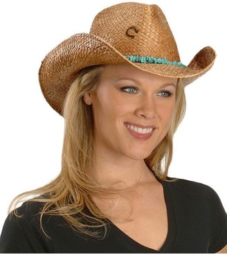 Charlie 1 Horse Women's Tulum Distressed Raffia Hat with Beaded Band