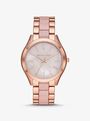 Michael Kors Oversized Slim Runway Rose Gold-Tone and Acetate Watch