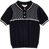 River Island Mini boys navy geo block polo shirt