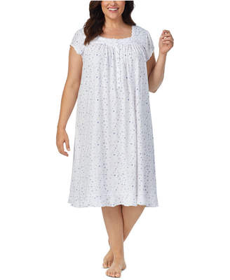Eileen West Cotton Lace-Trim Jersey Knit Nightgown