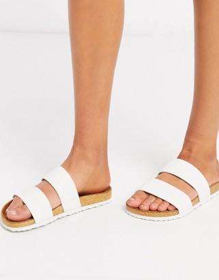 Asos Design DESIGN Fraser double strap mule sandal in white