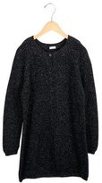 Il Gufo Girls' Metallic-Accented Rib Knit Cardigan