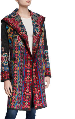 Johnny Was Treli Embroidered Long Hooded Cardigan