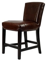 Safavieh Hudson Collection Ken Brown Leather 23.8-inch Counter Stool