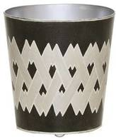 Worlds Away Black & White Wastebasket