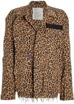 R 13 Abu Shredded Leopard Cotton Jacket