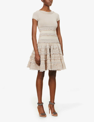Azzedine Alaia Embroidered cotton-blend mini dress