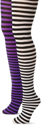 MUSIC LEGS Women's Plus-Size 2 Pack Opaque Striped Tights