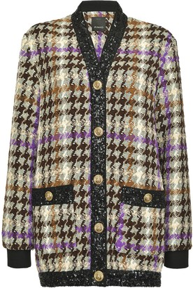Pinko Houndstooth Sequin-Embellished Cardigan