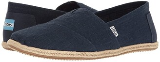 Toms Alpargata on Rope (Washed Black Linen Rope Sole) Men's Slip on Shoes