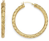 FINE JEWELRY Gold Opulence 14K Yellow Gold Diamond-Accent Diamond-Cut Hoop Earrings