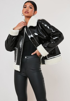Missguided Petite Black Vinyl Faux Fur Aviator Jacket