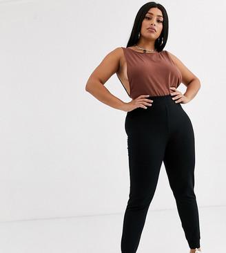 Asos DESIGN Curve basic stretch super skinny joggers in organic cotton-Black