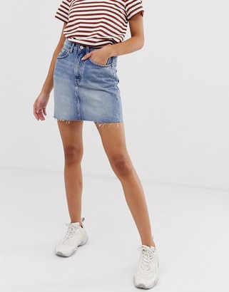 Weekday mini denim skirt in light wash
