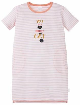 Schiesser Girls' Cat Zoe Nachthemd 1/2 Nightie Red (ROSe 506) 98 cm