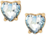 Betsey Johnson Gold-Tone Blue Stone Heart Stud Earrings