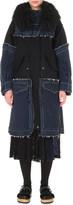 Sacai Patchwork denim and wool coat
