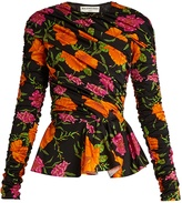 Balenciaga Floral-print ruched peplum-hem top