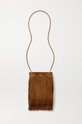 Saint Laurent Grace Small Leather-trimmed Fringed Suede Shoulder Bag - Tan