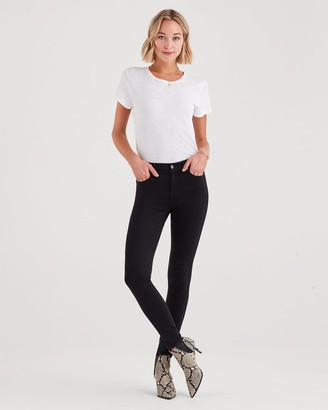 7 For All Mankind B(air) Denim High Waist Skinny in Black