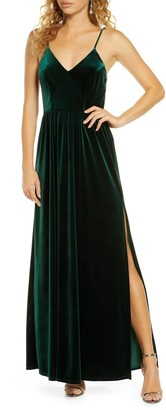 Lulus Final Song Strappy Back Velvet Gown