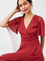 Very Soft Wrap Woven Dress - Wine