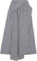 Simone Rocha Asymmetric Gathered Gingham Cotton Midi Skirt - Black
