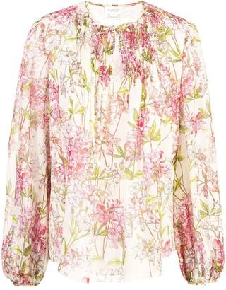 Giambattista Valli Floral Tie-Neck Blouse