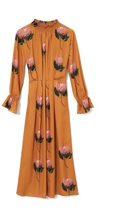 Phoebe Grace Felicity Midaxi High Neck Dress In Double Georgette In Large Yellow Protea