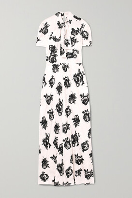 Miu Miu Floral-print Silk-jacquard Maxi Dress - White