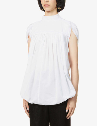 Ann Demeulemeester Puffed-shoulder cotton-poplin top
