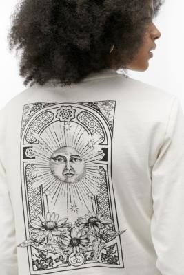 Urban Outfitters Solar Wonder Cropped Long Sleeve Skate T-Shirt - white XS at