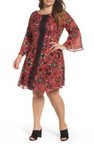 Gabby Skye Plus Size Women's Lace Trim Floral Bell Sleeve Dress