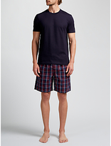 John Lewis Guildford T-shirt And Check Shorts Lounge Set, Navy/red