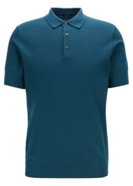 Knitted polo shirt in cotton and silk