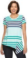 Caribbean Joe Women's Asymetrical Hem Striped Shirt
