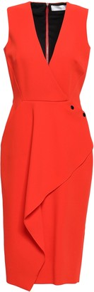 Victoria Beckham Button-detailed Ruffled Wool-crepe Dress